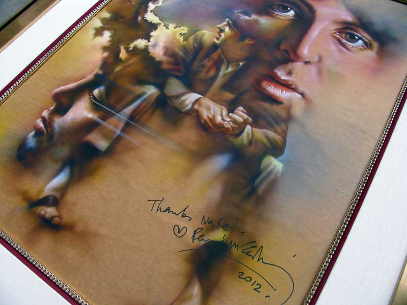 Signed by Paul McCartney at a private dinner held at Quincy Jones home in Bel Air, CA. Grammy week 2012.