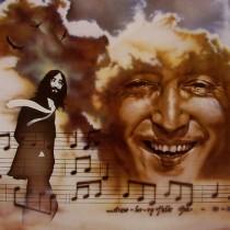 John Lennon. Watercolor on board. 20x25.