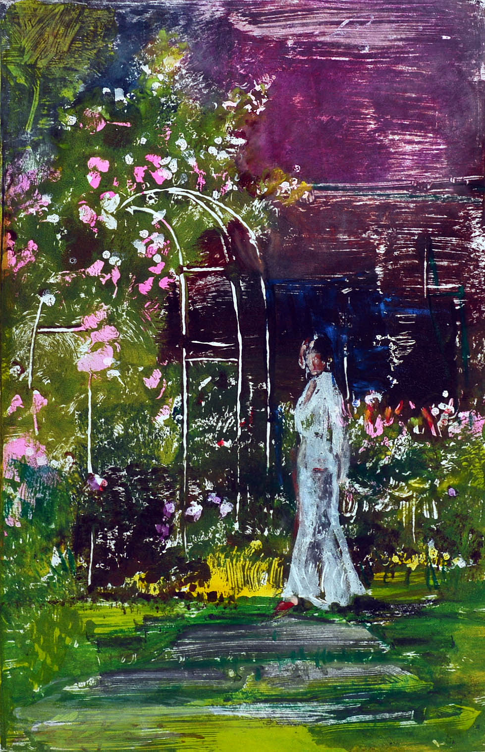 Walk In The Garden, oil on paper.